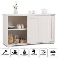 white kitchen storage cabinet costway white mdf kitchen storage cabinet sideboard