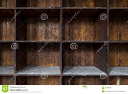 old distressed empty wooden storage shelves stock photo image