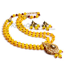 yellow necklace set images Yellow beaded necklace set with kundan pendant mustard yellow jpg