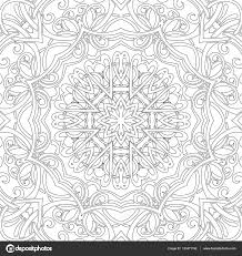 mandala seamless floral pattern with flowers and hearts coloring