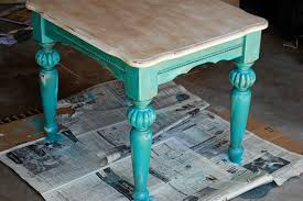Turquoise Side Table My Distressed And Antiqued Coffee And Side Tables Makeover Newlyweds