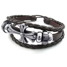 leather bracelet with cross images Konov mens womens leather bracelet celtic cross charm jpg