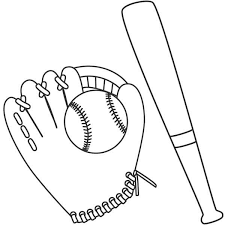 baseball ball glove bat colouring happy colouring