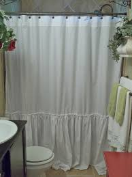 Burlap Ruffle Curtain Shabby Chic Ruffled White Shower Curtain