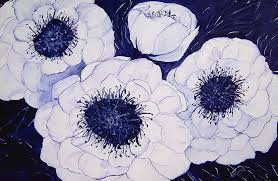 white and blue flowers big blue and white dahlia flowers painting by carol nelissen