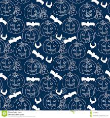 halloween blue seamless pattern with pumpkins stock vector image