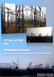 wbsetcl subhash gram 220kv substation training report