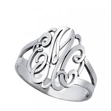 monogrammed rings silver silver three initial monogram ring