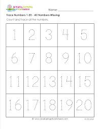 trace numbers 1 20 in these six number tracing worksheets kids