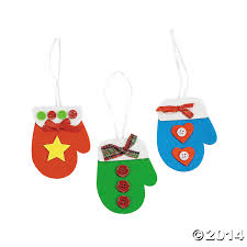 foam mitten christmas ornament craft kit 12 pk party supplies