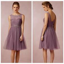 soft plum 2015 bridesmaid dress a line tulle sheer scoop party