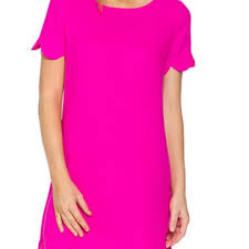 scalloped hem shift dress pink from blue chic boutique