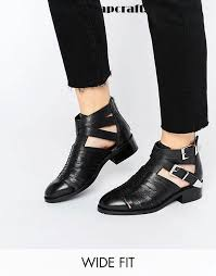 womens wide ankle boots canada black shoes asos arabella wide fit cut out leather boots