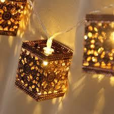 Retro Square Lantern String Lights 20 LED Lantern Indoor&Outdoor