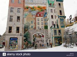 painting on a wall winter snow quebec city quebec canada painting on a wall winter snow quebec city quebec canada