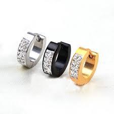 gold hoop earring gem simple ceramic earrings