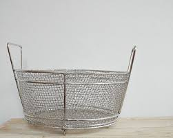 Shabby Chic Wire Baskets by Vintage Metal Wire Basket Big Round Rustic Fruit Basket