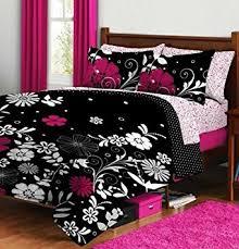 Queen Bedding Sets For Girls by Amazon Com Pink U0026 Black Teen Girls Queen Comforter U0026 Sheet Set 7