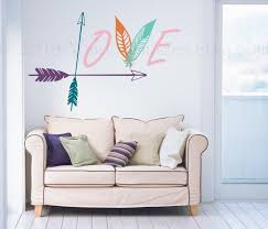 arrow and feather wall decal love wall decal bedroom wall zoom