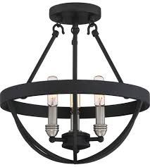 Quoizel Flush Mount Ceiling Light Quoizel Bsn1714ek Basin 3 Light 14 Inch Earth Black Semi Flush