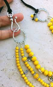 yellow necklace set images Yellow multistrand fertility goddess long boho leather necklace JPG