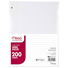 writing white paper amazon com mead filler paper loose leaf paper college ruled amazon com mead filler paper loose leaf paper college ruled 200 sheets pack 17208 notebook filler paper office products