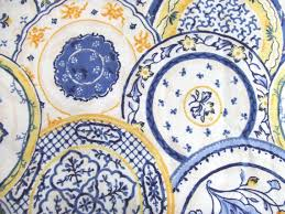 3 yards china shop cotton waverly fabric blue and yellow by