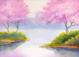 spring painting ideas gallery easy watercolor paintings of spring landscapes drawings