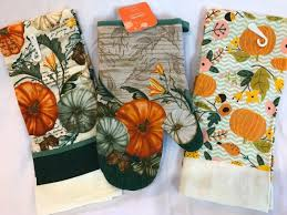 fall pumpkins oven mit and two dish towels and 18 similar items