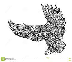 ethnic animal doodle detail pattern eagle zentangle illustration