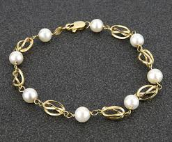 gold bracelet chain designs images Yellow gold bracelet with chain design 8 natural cultured jpg