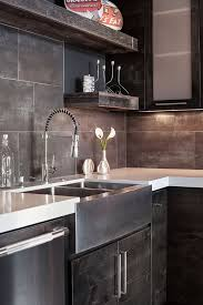 metallic porcelain tile kitchen contemporary with 3 form accent