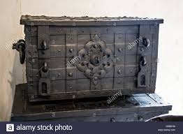 medieval decorations closed an old chest in the room medieval chests with iron stock