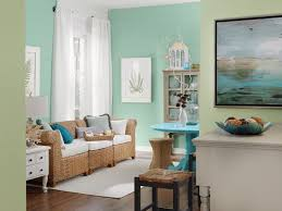 nice mint paint color for living room in coastal style with wicker