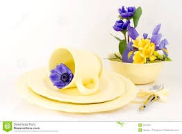 spring table setting yellow royalty free stock photography image