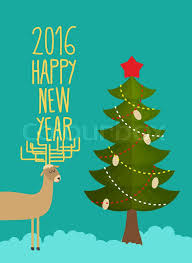 tree and deer card for and new year