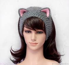 cat headband headband with cat ears knitted hair pink shop online on