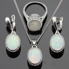 opal stone silver necklace images 2018 australia white opal stones silver color jewelry sets for jpg