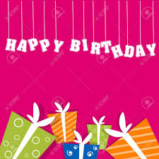 illustration of birthday card with gifts royalty free cliparts
