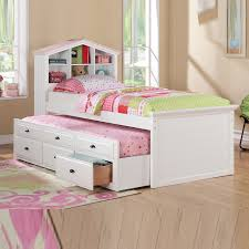 White Bookcase Headboard Twin White Girls Kids House Shaped Bookcase Headboard Combo Trundle 3
