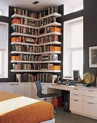 small home library with corner open shelves creating small home