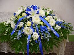 casket flowers royal blue and white tribute casket spray in wamego ks the
