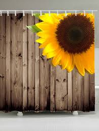 Sunflower Yellow Curtains by Waterproof Sunflower Wood Grain Shower Curtain Brown W Inch L