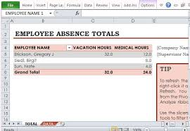 pivot table exle download employee absence tracker for excel