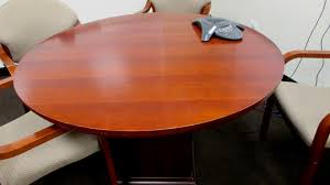 48 Inch Round Table by Used 48 U2033 Medium Cherry Wood Round Table