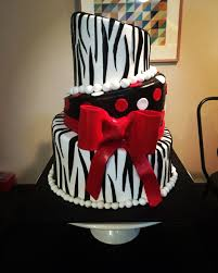 black white and red polka dots and zebra stripe birthday cake