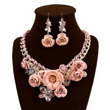 crystal choker necklace set images Flower collar crystal choker necklace for girls with earrings sets jpg