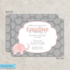 baby shower invitations cozy pink and grey elephant baby shower