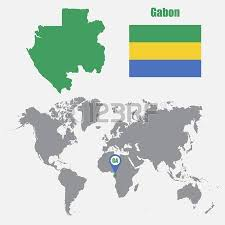 gabon in world map hungary map on a world map with flag and map pointer vector