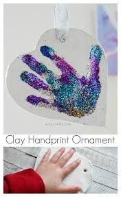 glittery sparkly clay handprint ornament arty crafty kids
